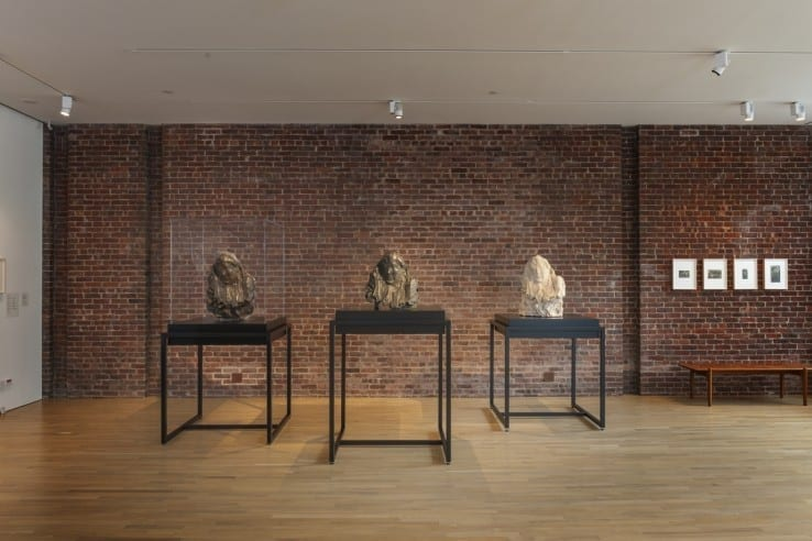 View of Medardo Rosso at CIMA, with series of Madame Noblet sculptures (from l-r: wax from Ca' Pesaro, Venice; bronze from Galleria d'Arte Moderna, Milan; plaster from Museo Medardo Rosso, Barzio). Photo by Walter Smaling Jr.
