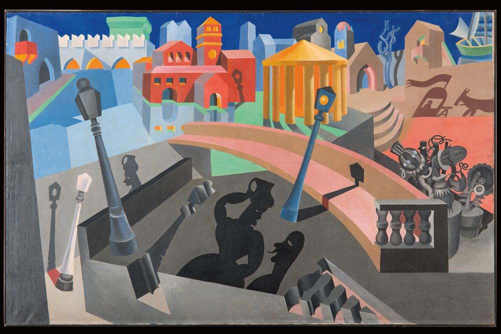 Fig. 2: Fortunato Depero, Città meccanizzata dalle ombre (City Mechanized by Shadows), 1920, oil on canvas, private collection