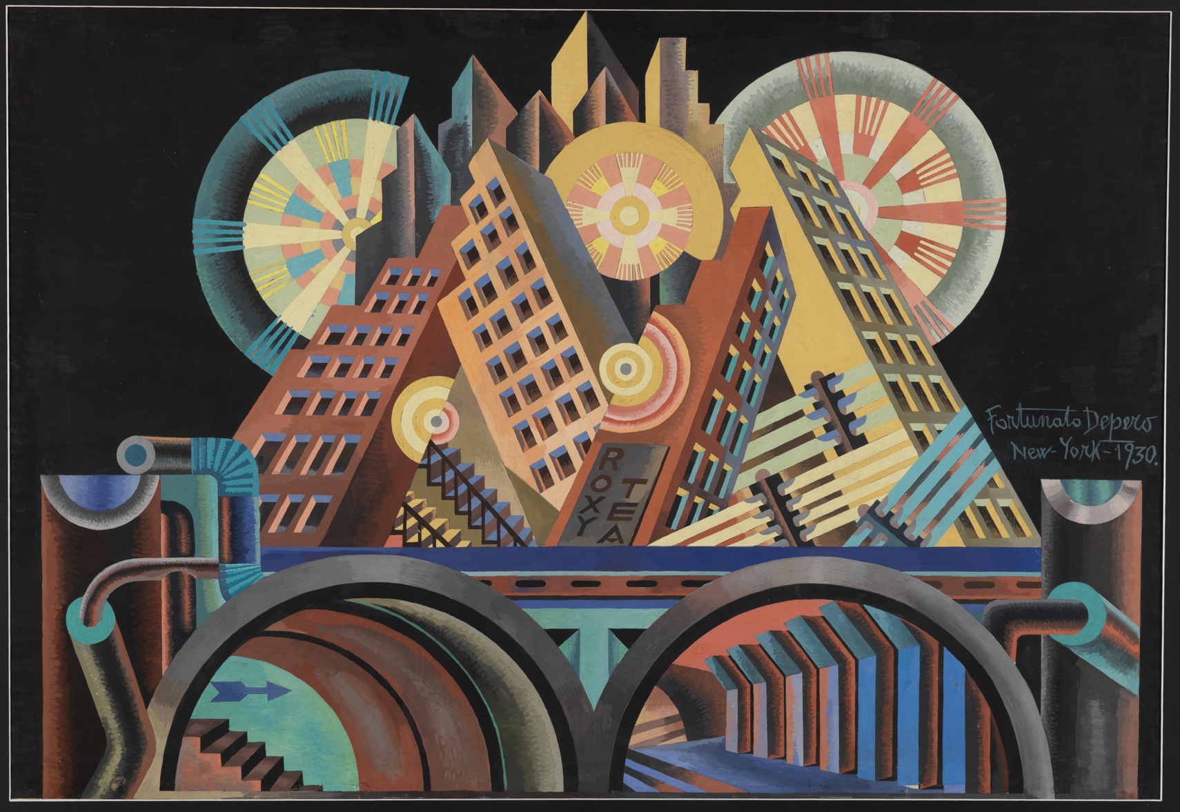 Fig. 1: Fortunato Depero, Grattacieli e tunnel (Skyscrapers and Tunnel), 1930 tempera on cardboard,  68 x 102 cm, Mart, Museo di arte moderna e contemporanea di Trento e Rovereto