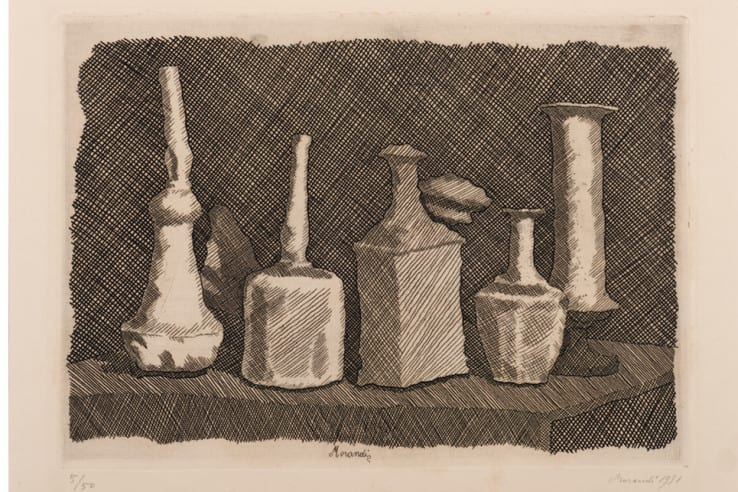 Giorgio Morandi, Natura morta a grandi segni, 1931, Etching, 24.5 x 34 cm @2015 Artists Rights Society (ARS), New York / SIAE, Rome. Reproduction, including downloading of Giorgio Morandi works, is prohibited by copyright laws and international conventions without the express written permission of Artists Rights Society (ARS), New York