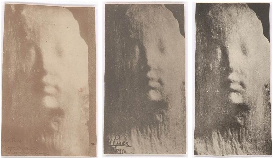 Medardo Rosso, Ecce peur (Behold the child), c. 1911-14. Vintage photographs. Private collection. Left: 14.3 x 8.8 cm Center: 12.5 x 6.9 cm Right: 14.6 x 7.4 cm