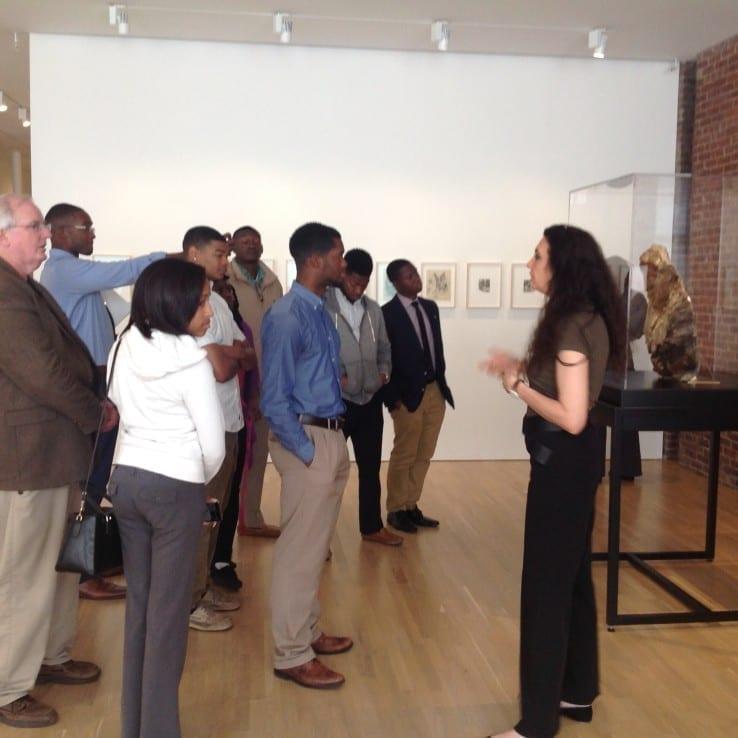 Ilaria Barzaghi, 2015 Spring Fellow, leading a tour of Medardo Rosso for Tuskegee University students