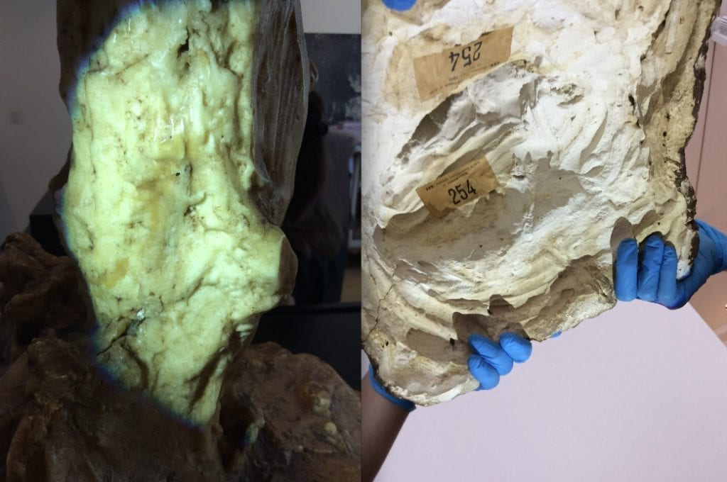 """Left: Detail of wax mold fuse line.  Right: Underneath the base. """"Bookmaker"""", 1914-23. Wax over plaster, 48 x 43 x 46 cm. Museo Medardo Rosso, Barzio. Images taken by Cecilia Erica Blume."""