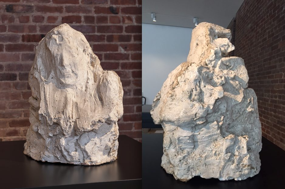"""Left: Front, image taken by CIMA. Right: Back, image taken by Lluisa Sarries i Zgonc. """"Madame Noblet"""", after 1914. Plaster, 64.5 x 52.5 x 45.5cm. Museo Medardo Rosso, Barzio."""