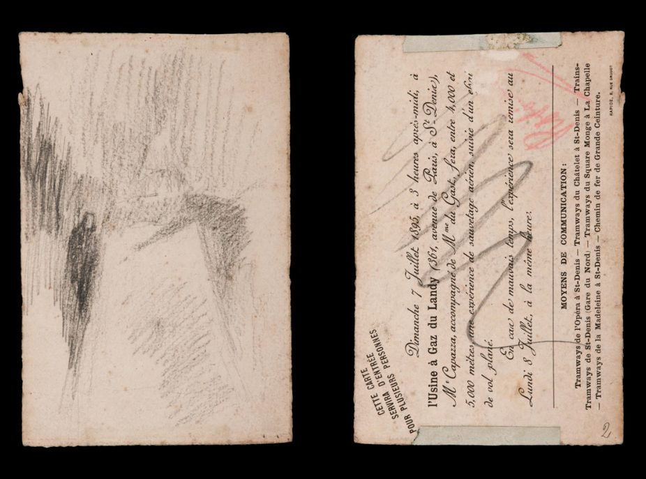 """Front and Back of """"Untitled"""", n.d. Pencil on cardboard, 15 x 9.9 cm. Museo Medardo Rosso, Barzio, Inv. 202"""
