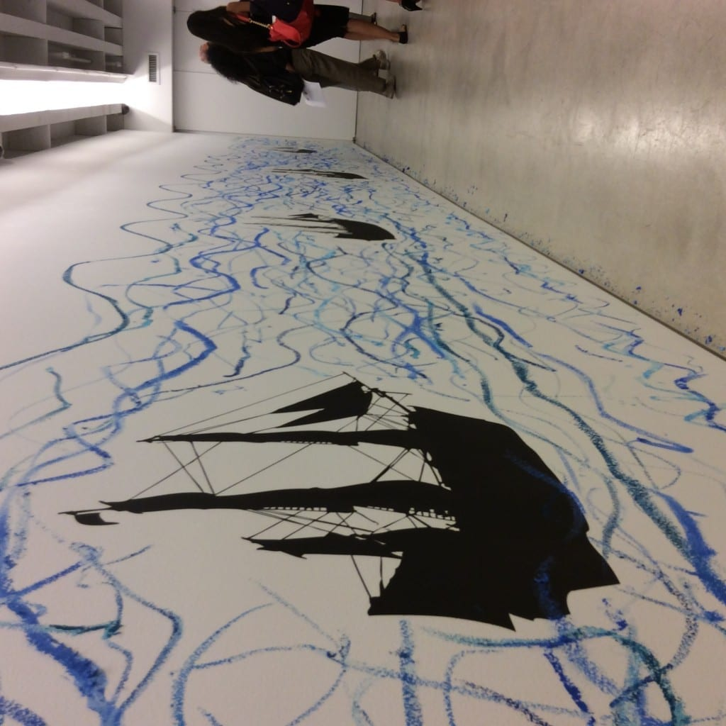 """View of Robin Rhode """"Drawing Waves"""" installation. Photo by Cecilia Erica Blume."""