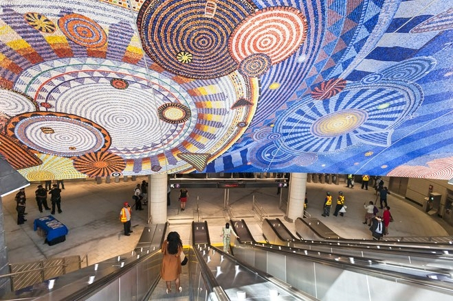 The new 34th Street-Hudson Yards subway station on the 7 Subway line extension in New York City. The mosaic artwork is titled 'Funktional Vibrations,' by Xenobia Bailey. Photo: Michael Nagle/Bloomberg News.