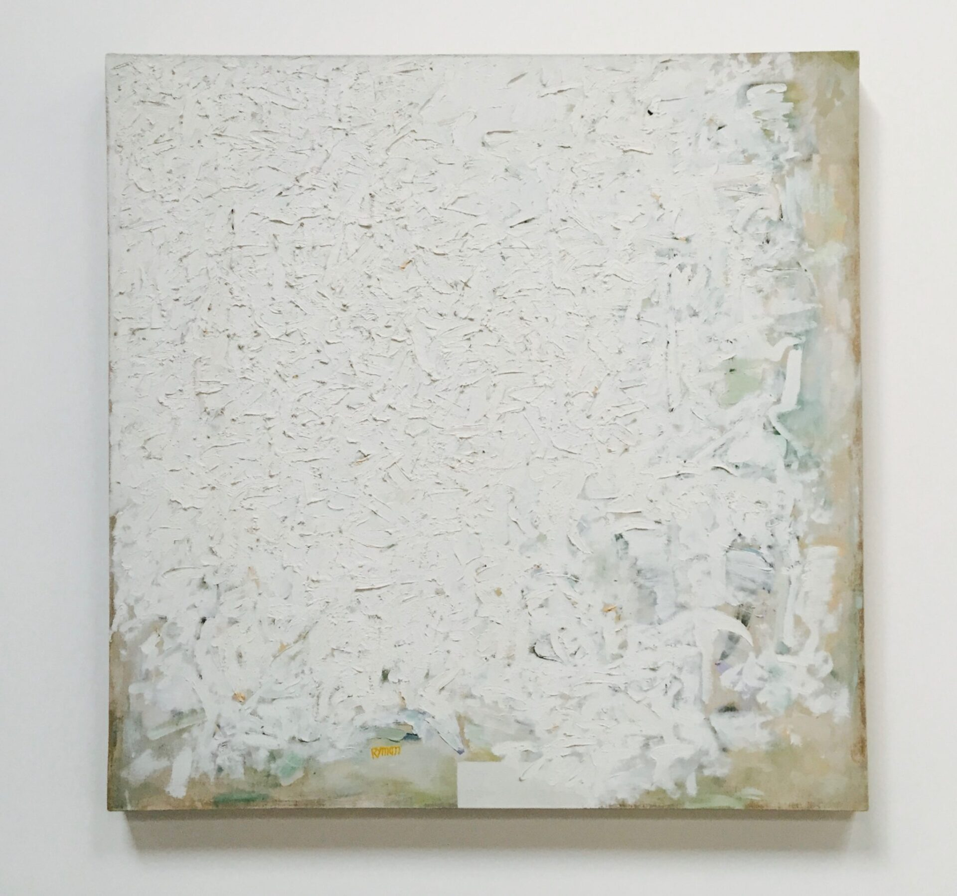Robert Ryman. Untitled, c. 1960. Oil and gesso on linen. The Greenwich Collection, Ltd. On view at Dia:Chelsea, 545 West 22nd Street, December 9, 2015-June 18, 2016