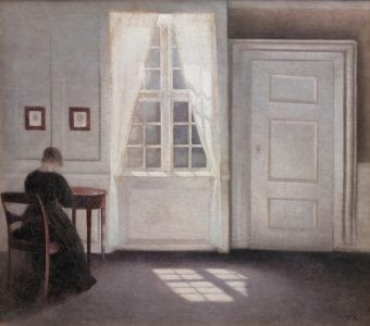 Fig. 1: Vilhelm Hammershøi, Interior in Strandgade, Sunlight on the Floor, 1901. Oil on canvas, 18 1/3 x 20 1/2 in., (Statens Museum for Kunst, image courtesy of Scandinavia House)