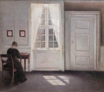 Fig. 1: Vilhelm Hammershøi, Interior in Strandgade, Sunlight on the Floor, 1901. Oil on canvas, 18 1/3 x 20 1/2 in., (Statens Museum for Kunst, image courtesy of Scandinavia House)