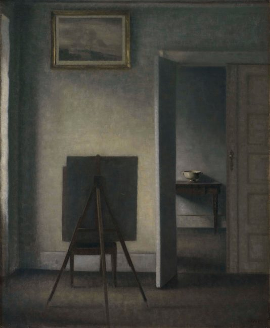 "Fig. 2: Vilhelm Hammershøi, ""Interior with the Artist's Easel"" (1910), oil on canvas, 33 x 27 1/5 inches., (Statens Museum for Kunst, image courtesy of Scandinavia House)"