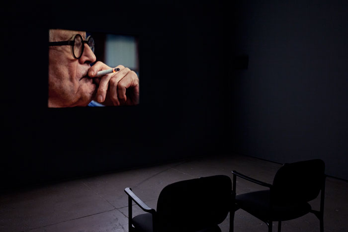 Tacita Dean, Portraits, 2016, 16mm color film, optical sound, 16 minutes, installation view. Courtesy of the artist and Marian Goodman Gallery