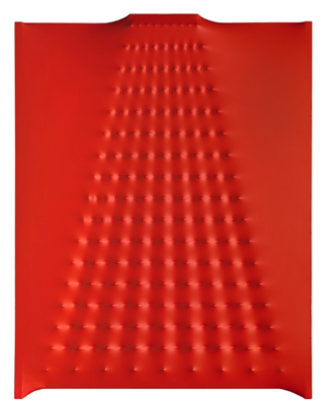 Superficie rossa n. 8, 1966. Acrylic on canvas. Courtesy Fondazione Enrico Castellani.