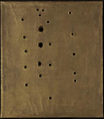 Lucio Fontana – Concetto Spaziale, Attesa, 1960-61, detail. Oil on canvas.