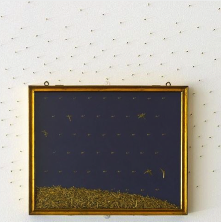 Giulio Paolini, Sotto le stelle (Under the Stars), detail, 1985-88. Metal display case, gold nails, Metal display case: LeWitt Collection, Chester, CT. Copyright Giulio Paolini