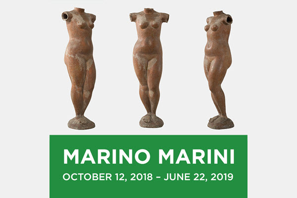 "MARINO MARINI - October 12, 2018 to June 22, 2019. Marino Marini, ""Venere,"" 1945. Terracotta, h. 113 cm. Private Collection. Marino Marini, Venere, 1945. © 2018 Artists Rights Society (ARS), New York / SIAE, Rome."