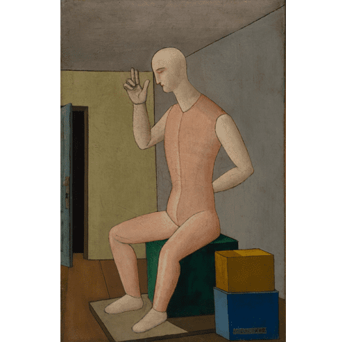 "Carlo Carrà, ""L'idolo ermafrodito (The Hermpaphrodite Idol),"" 1917. Oil on canvas, 65 x 42 cm. Fondation Mattioli Rossi, Switzerland. (c) 2018 Artists Rights Society (ARS), New York / SIAE, Rome."