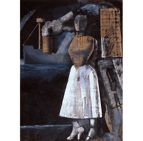 """Mario Sironi, """"Venere dei porti (Venus of the Ports),"""" 1919. Tempera and collage on paper on canvas, 98 x 73 cm. Casa Museo Boschi di Stefano, Milan (c) 2018 Artists Rights Society (ARS), New York / SIAE, Rome."""