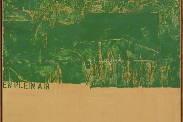 Schifano, Mario, 'En plein air', 1963, Enamel on paper laid down on two attached canvases 63 x 63 in (160 x 160 cm) Private Collection, Monaco. © 2020 Artists Rights Society (ARS), New York / SIAE, Rome © Archivio Mario Schifano.